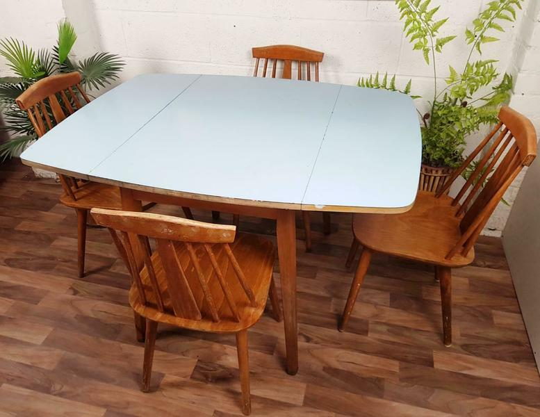 60 S Dropleaf Blue Formica Dining Table 4 Chairs Set Mid Century Retro Unknown Vinterior