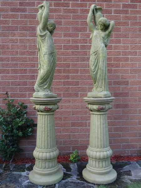 2 Large Matching French Aged Style Heavy Stone Tall Urn Jug Girls Garden Statues