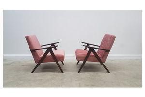 Thumb 1960 model b 310 var mid century easy chairs in rusty pink velvet 1 of 2 0