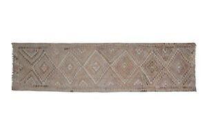 Thumb 1970s vintage turkish oushak tribal flat woven kilim rug runner 93 x 350 0