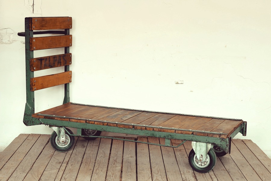 Trolley Coffee Table.Vintage Oak Iron Trolley Coffee Table