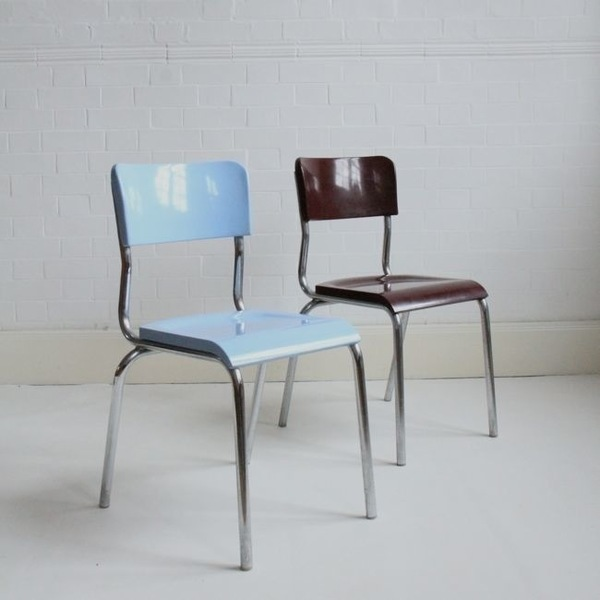 Pair Of Rene Herbst Dining Chairs