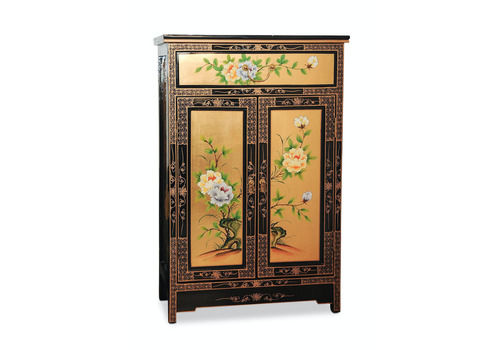 Art Deco Chinese Beautiful Executed Gold & Black Lacquered Cabinet Of Floral Design With Green Baize Lined Top Drawer