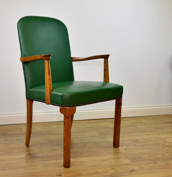 Strange 1930S Art Deco Walnut Green Leather Open Armchair Desk Chair Free Delivery To Mainland England Wales Ncnpc Chair Design For Home Ncnpcorg