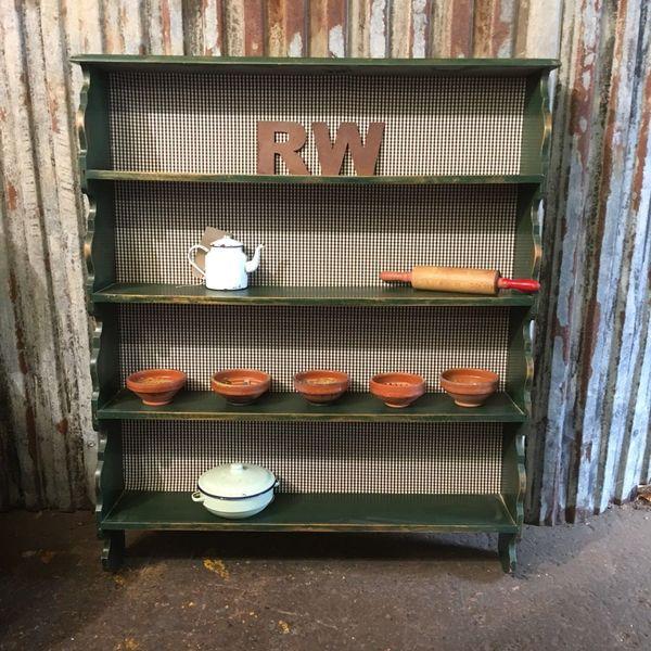 brand new 80cf4 bd82e Rustic Oak Painted Plate Rack Shelves Green Country Kitchen Farmhouse