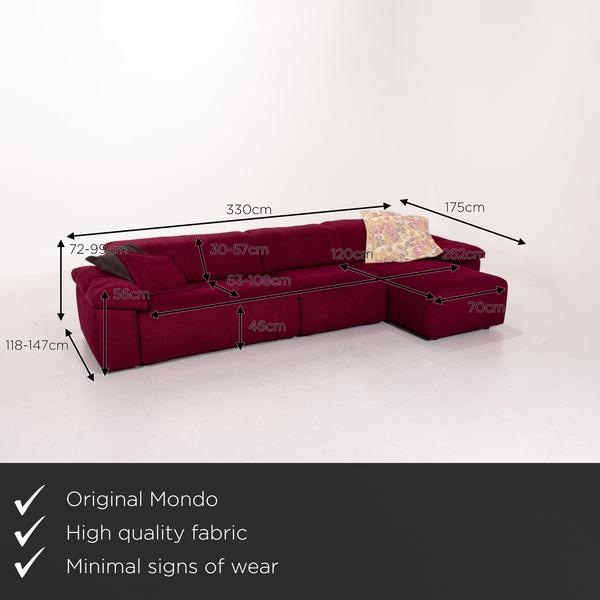 Mondo Fabric Corner Sofa Electrical Function Purple Berry Relax Function Sofa Couch Vinterior