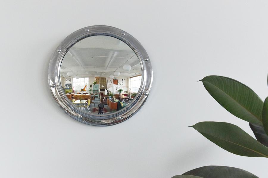 Vintage Small Round Silver Chrome Framed Fish Eye Wall Mirror