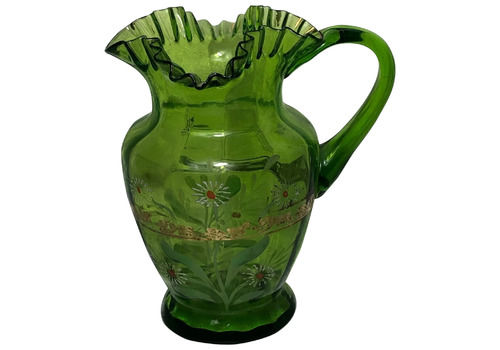 Green Crimple Glass 20th Century Hand Painted Floral Gilt Vase Mothers Day Easter Gift