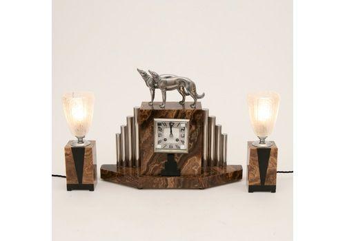 French Art Deco Borzoi Clock By Michel Decoux