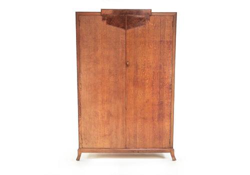 Vintage British Oak Maple & Co Art Deco Wardrobe