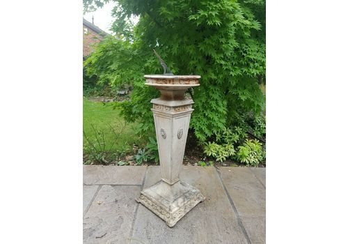 A Vintage Cast Sundial On Column Garden Architectural From Country House