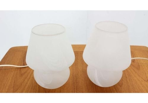 Murano Glass Set Of 2 Mushroom Table Lamps, 1970s, Italy