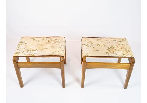 A Pair Of Stools In Light Polished Wood And Upholstered With Light Floral Fabric From The 1960s.
