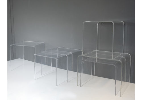 6 Lucite Side Tables, France, 1970s