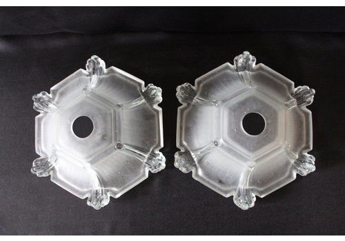 Two Vintage Art Deco Frosted Glass Globe, Glass Shade, Light Fixture, Lighting, Clear And Frosted Glass, Dome Shape