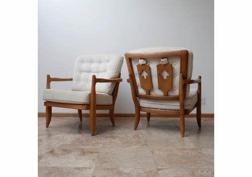 Pair Of Mid Century Oak Guillerme Et Chambron Armchairs