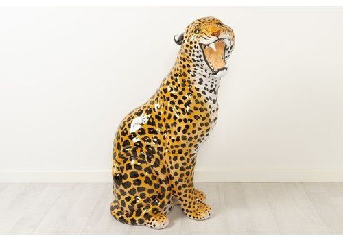 Vintage Italian Life Size Terracotta Leopard, 1960s