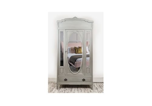 Armoire  French Wardrobe,  Antique French , Light Grey Chalk Paint