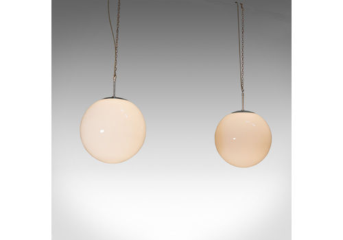 Large Pair, Vintage Opaline Hanging Lamps, Milk Glass, Ceiling Light, Industrial