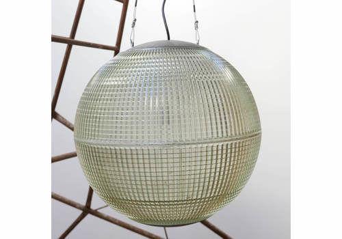 Original Mid Century Parisian Holophane Glass Globe Pendant (50cm)
