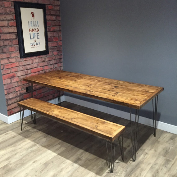 Reclaimed Pallet Dining Table And Bench Hairpin Legs By