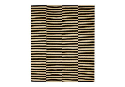 Modern Black And Cream Kilim Rug, Block Colour Area Rug  350x382cm