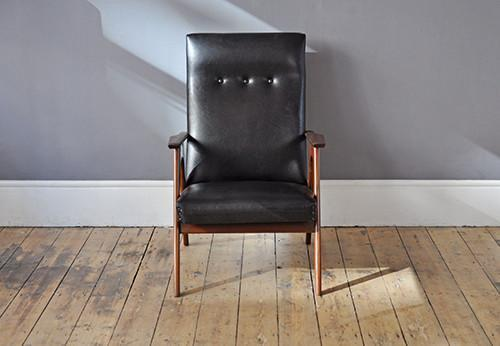 High Back Black Skai Armchair