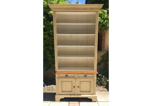 Antique Painted Pine Dresser, Bookcase Display Cabinet
