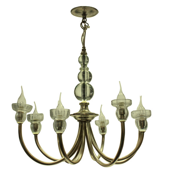 A French Mid Century Silver Chandelier