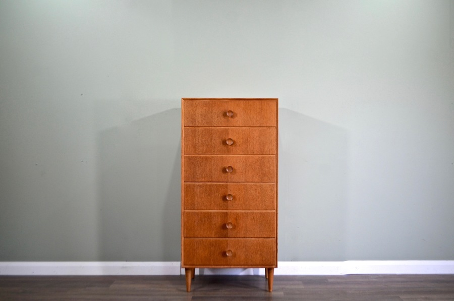 Midcentury Meredew Tallboy / Chest Of Drawers In Oak.  Vintage Modern / Scandinavian / Retro / Danish Style