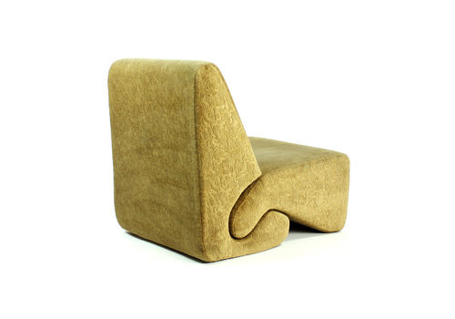 Rare Gold Velvet Lounge Chair From Hotel Kyjev By Ivan Matusik, Czechoslovakia 1970