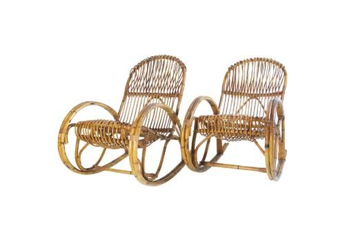 Midcentury Bamboo Rocking Chairs In The Style Of Franco Albini Italy