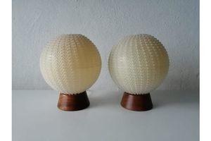 Thumb temde very beautiful teak ball fabric shade pair of bedside lamps 1960s germany 1960s 0