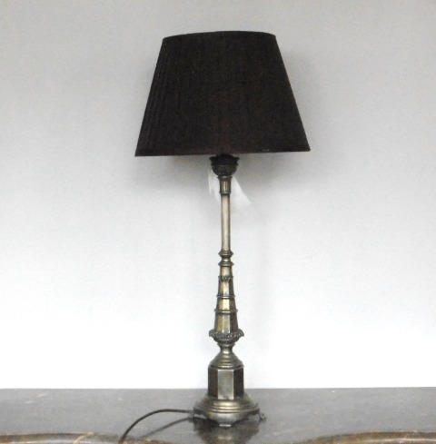 Pewter Neo Gothic Candlestick As Lamp