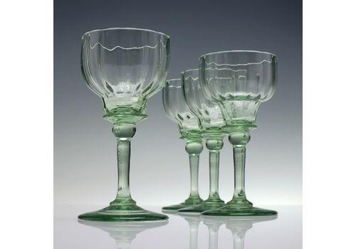 Four Rare Antique Richardson Apple Green Wine Glasses C1840