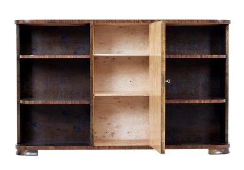 Mid 20 Th Century Scandinavian Birch Inlaid Open Bookcase