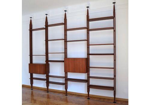Vintage Midcentury Franco Albini For Poggi  Italian Floor To Ceiling Infinito Bookcase In Teak, 1950s. Modern / Retro / Scandinavian.