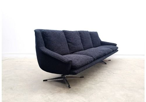 1960 Danish Sofa Model 802 By Werner Langenfeld For Esa In Black Velvet.
