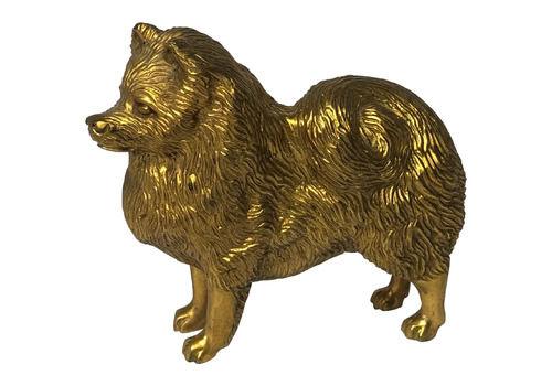 Art Deco 20th Century Gilt Bronze Spitz Dog Animal Car Mascot Sculpture Signed A G Ward