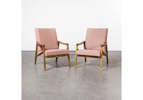 Mid Century Pair Of Re Upholstered Armchairs With Straight Arms And Cross Frame (Model 411)