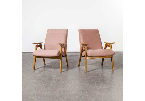Mid Century Pair Of Re Upholstered Armchairs With Straight Arms And Top Caps (Model 412)
