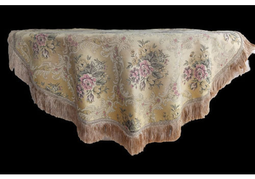 Ornate French Table Cloth With Cabbage Rose Pattern