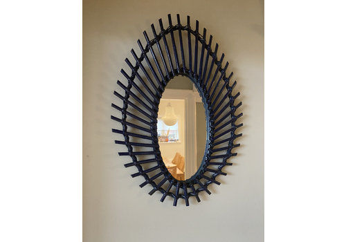 Very Unusual Midnight Blue French Rattan Bamboo Oval Mirror Excellent Condition