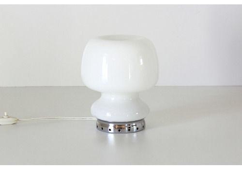 1950s Opaline Glass Vvintage Mushroom Table Lamp