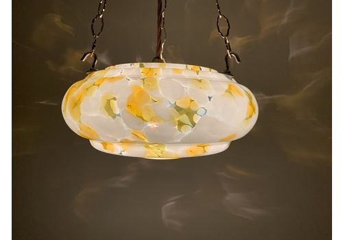 Classic Antique Art Deco Stepped Flycatcher Glass Bowl Plafonnier Ceiling Light With Orange And Pale Green Marbling