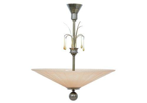 Scandinavian Art Deco Ceiling Dish Light By Orrefors