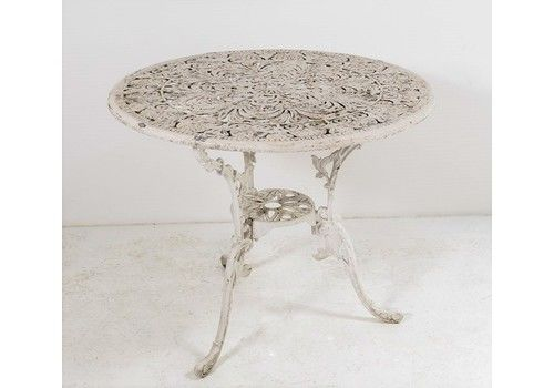 Ornate Garden Table | Weathered White Table | Cast Aluminium Scroll Table