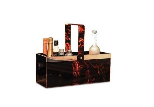Maison Mercier Tortoiseshell Lucite And Chrome Champagne Carrier Rectangular With Swing Hinged Handle & Chrome Rim