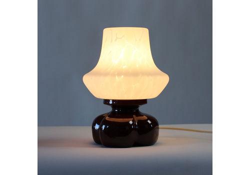 Midcentury Table Lamp In Ceramic And Glass, Osvetlovaci Sklo Czechoslovakia 1960s