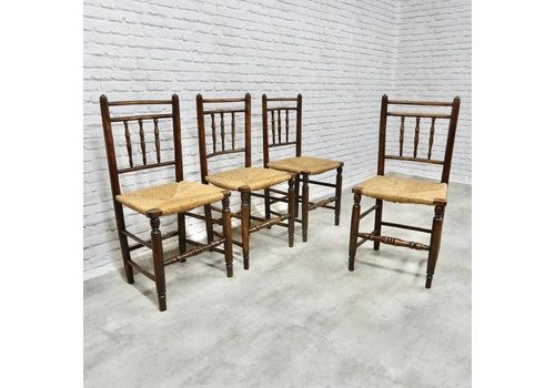 Set Of 4 Antique Rush Seated Kitchen Chairs